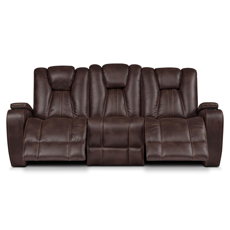 Pulsar Dual Power Reclining Sofa Brown