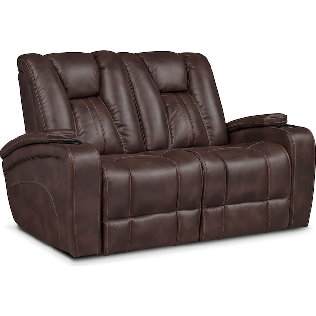 Living Room Furniture - Pulsar Dual Power Loveseat - Brown