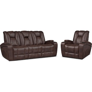 Pulsar Dual Power Reclining Sofa and Power Recliner Set - Brown