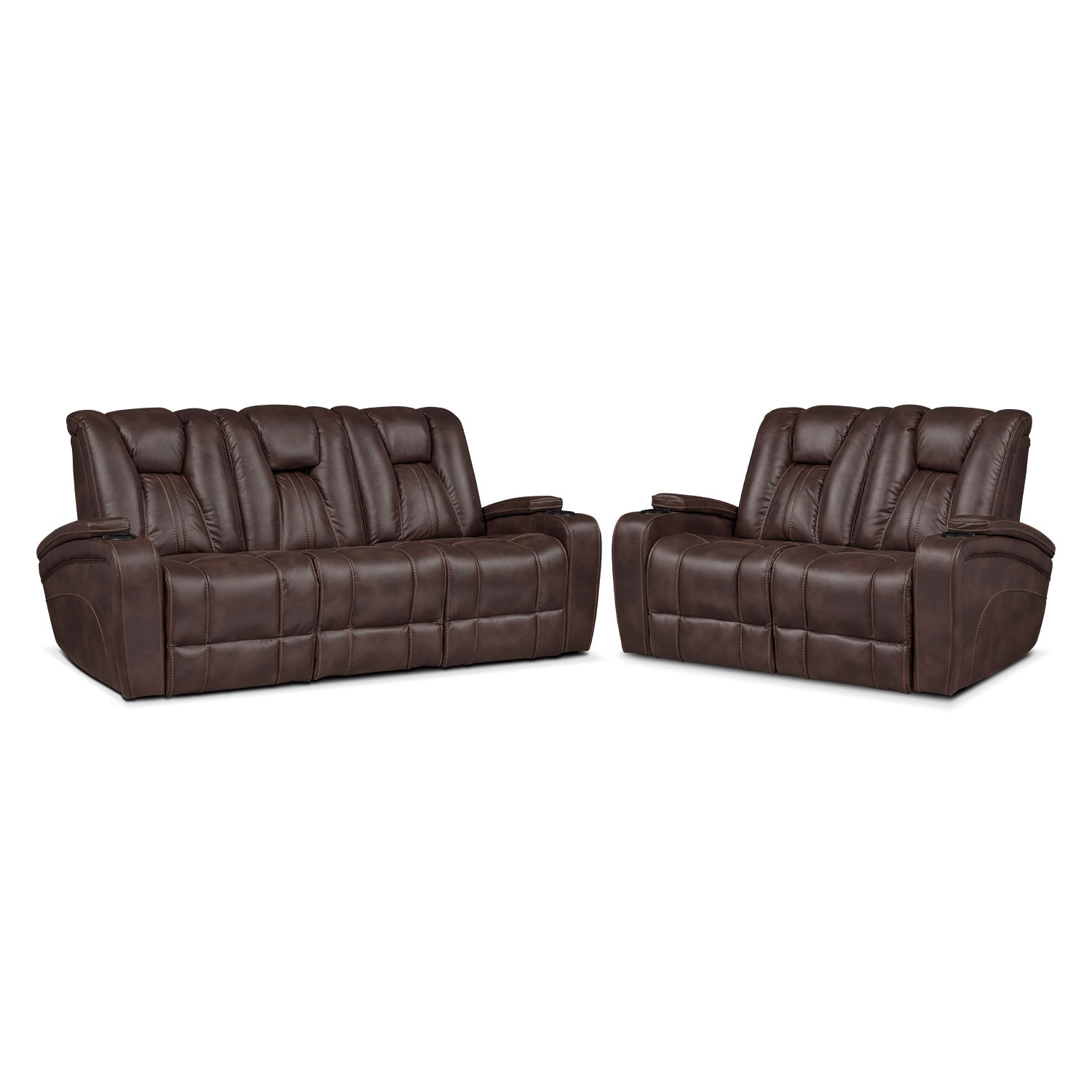 Living Room Furniture - Pulsar Dual Power Reclining Sofa and Dual Power Reclining Loveseat Set - Brown