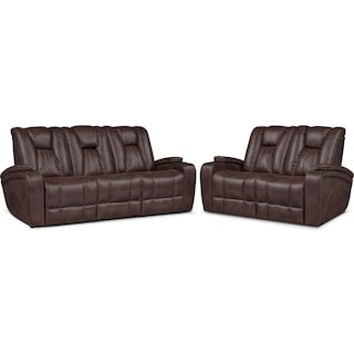 Pulsar Dual Power Reclining Sofa and Dual Power Reclining Loveseat Set - Brown