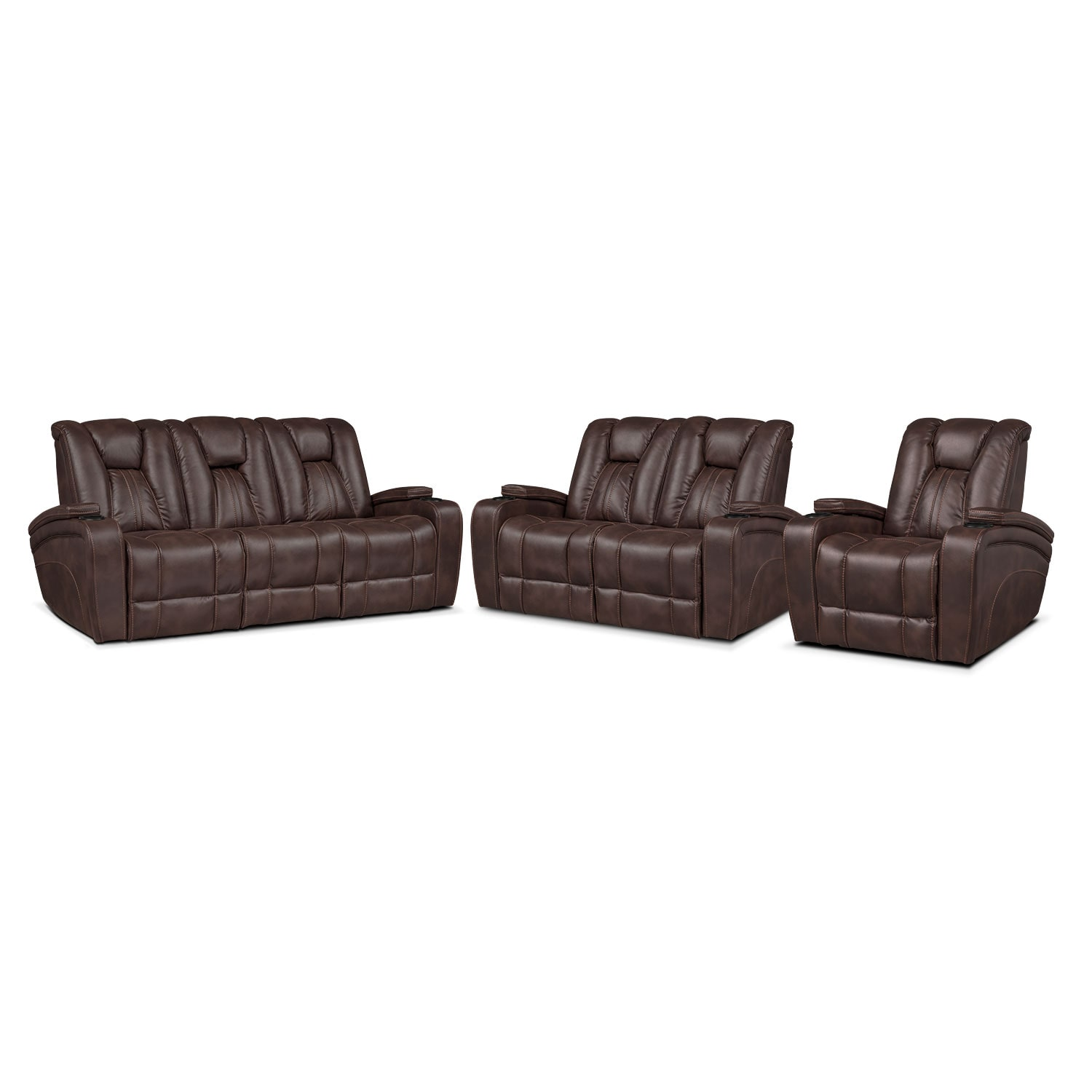 Living Room Furniture - Pulsar Power Reclining Sofa, Power Reclining Loveseat and Power Recliner Set - Brown