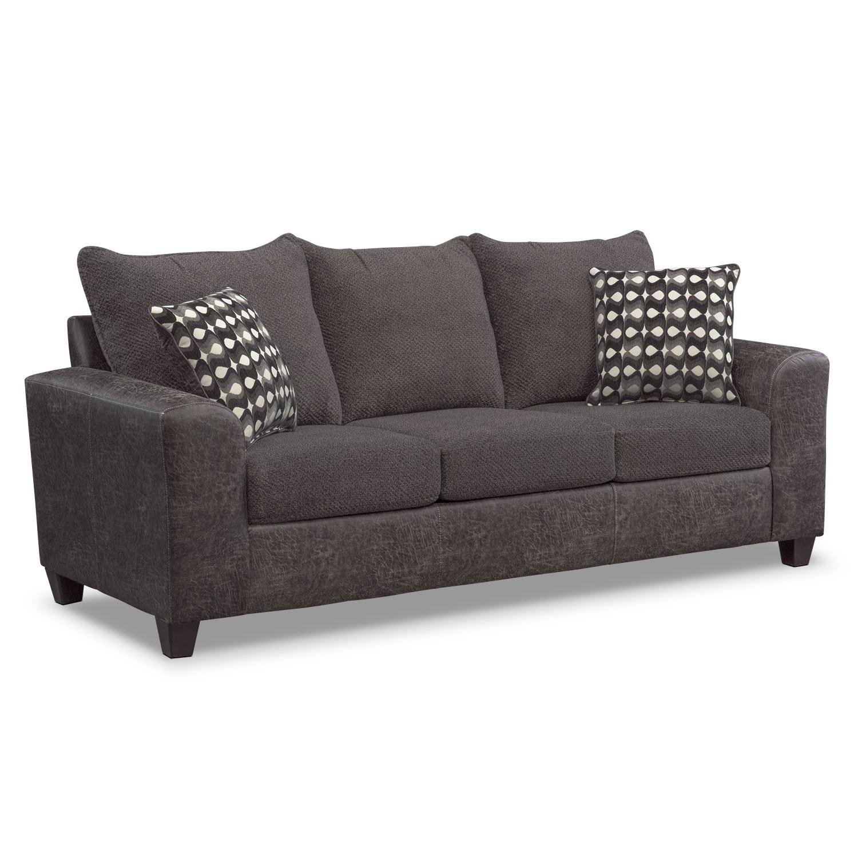Living Room Furniture - Brando Queen Memory Foam Sleeper Sofa - Smoke