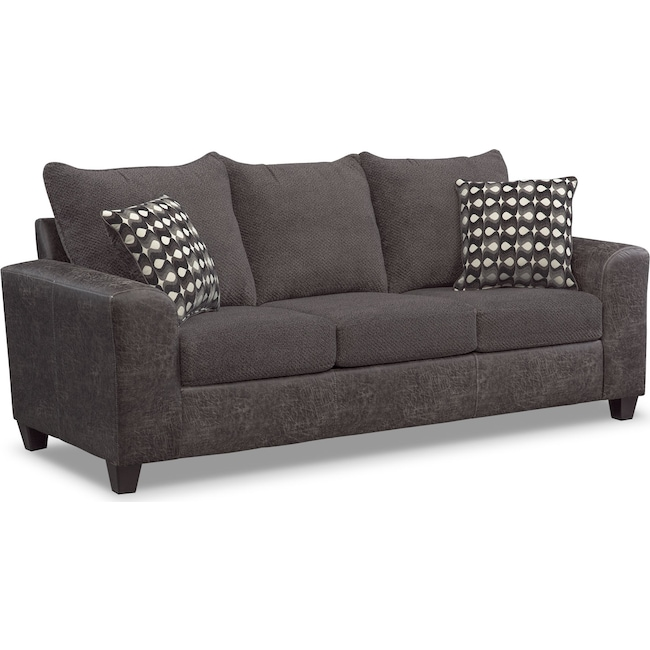 Living Room Furniture - Brando Queen Memory Foam Sleeper Sofa - Smoke