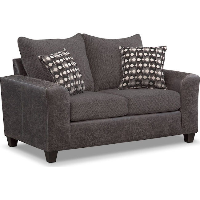 Living Room Furniture - Brando Loveseat - Smoke