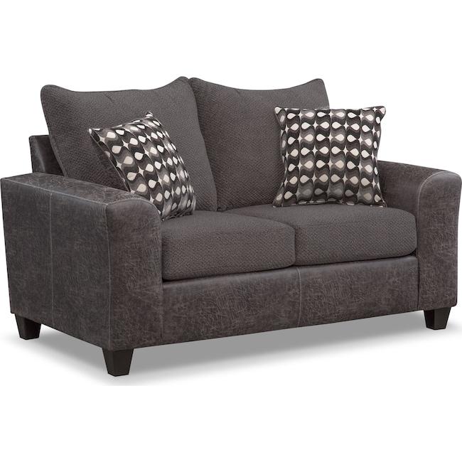 Living Room Furniture - Brando Loveseat - Smoke