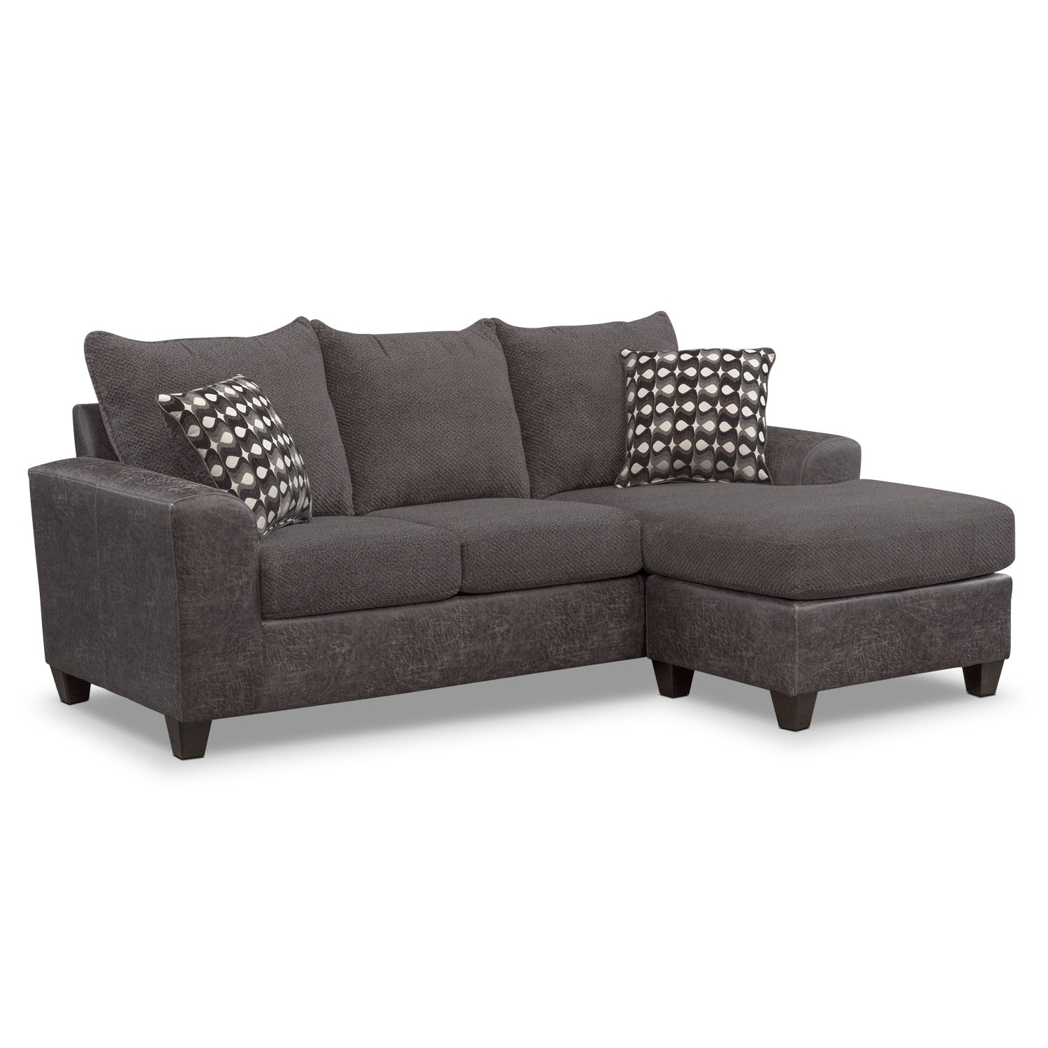 Brando sofa with chaise smoke american signature furniture for I furniture warehouse