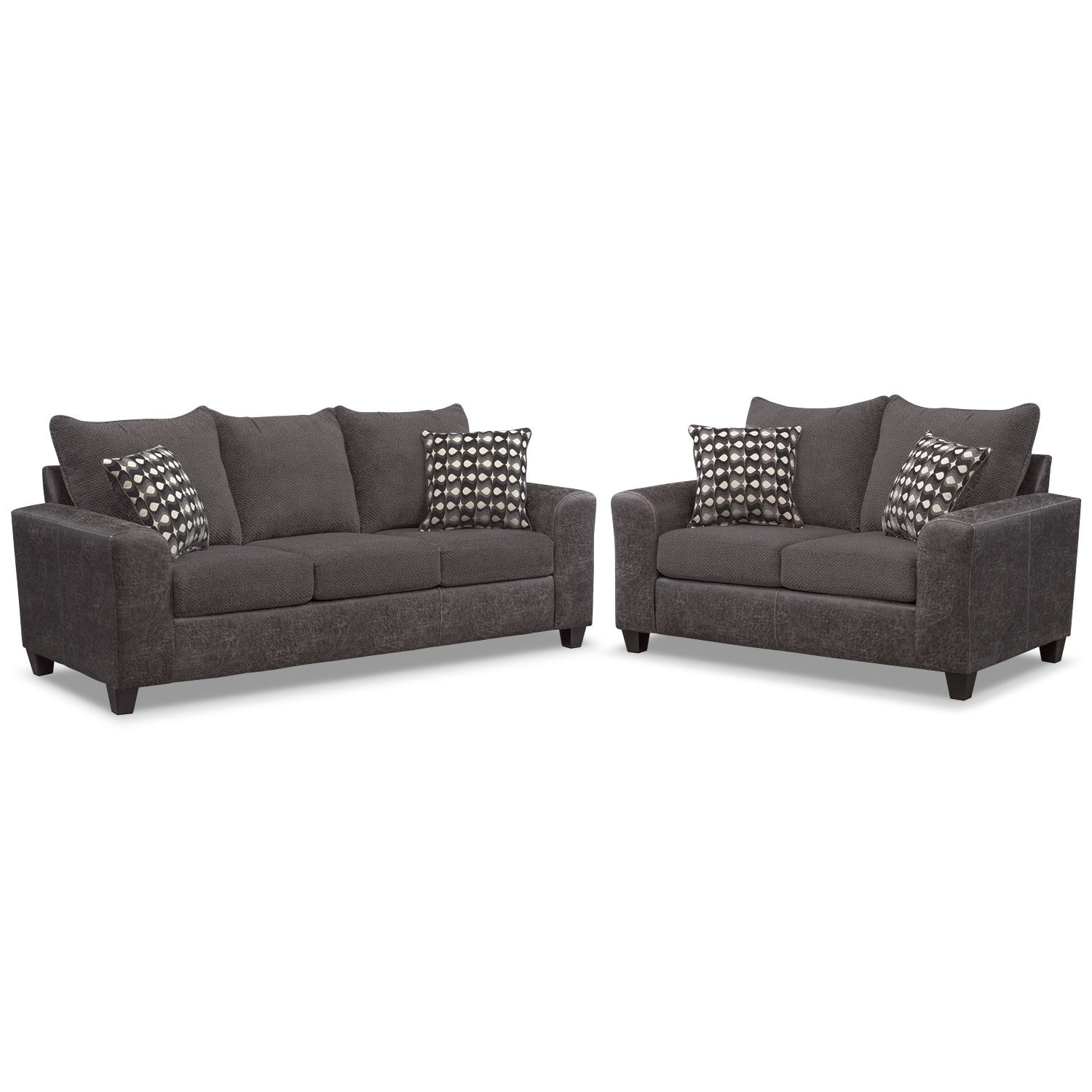 Living Room Furniture - Brando Queen Innerspring Sleeper Sofa and Loveseat Set - Smoke