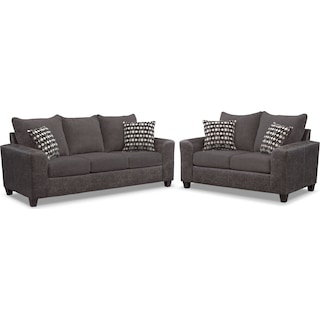 Brando Queen Memory Foam Sleeper Sofa and Loveseat Set - Smoke