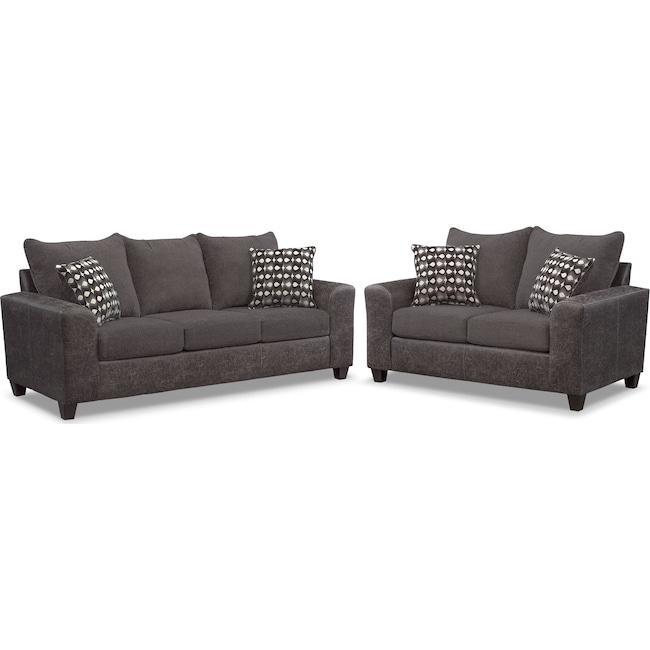 Living Room Furniture - Brando Queen Memory Foam Sleeper Sofa and Loveseat Set - Smoke
