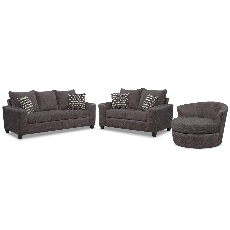Living Room Furniture - Brando Sofa, Loveseat and Swivel Chair Set - Smoke