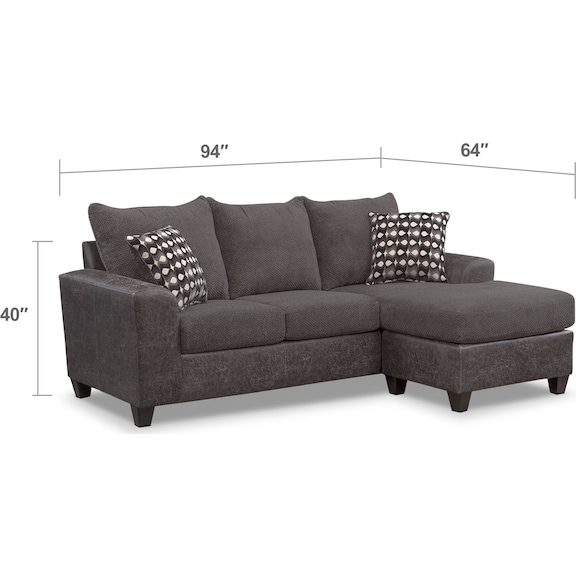 Living Room Furniture - Brando Sofa with Chaise - Smoke