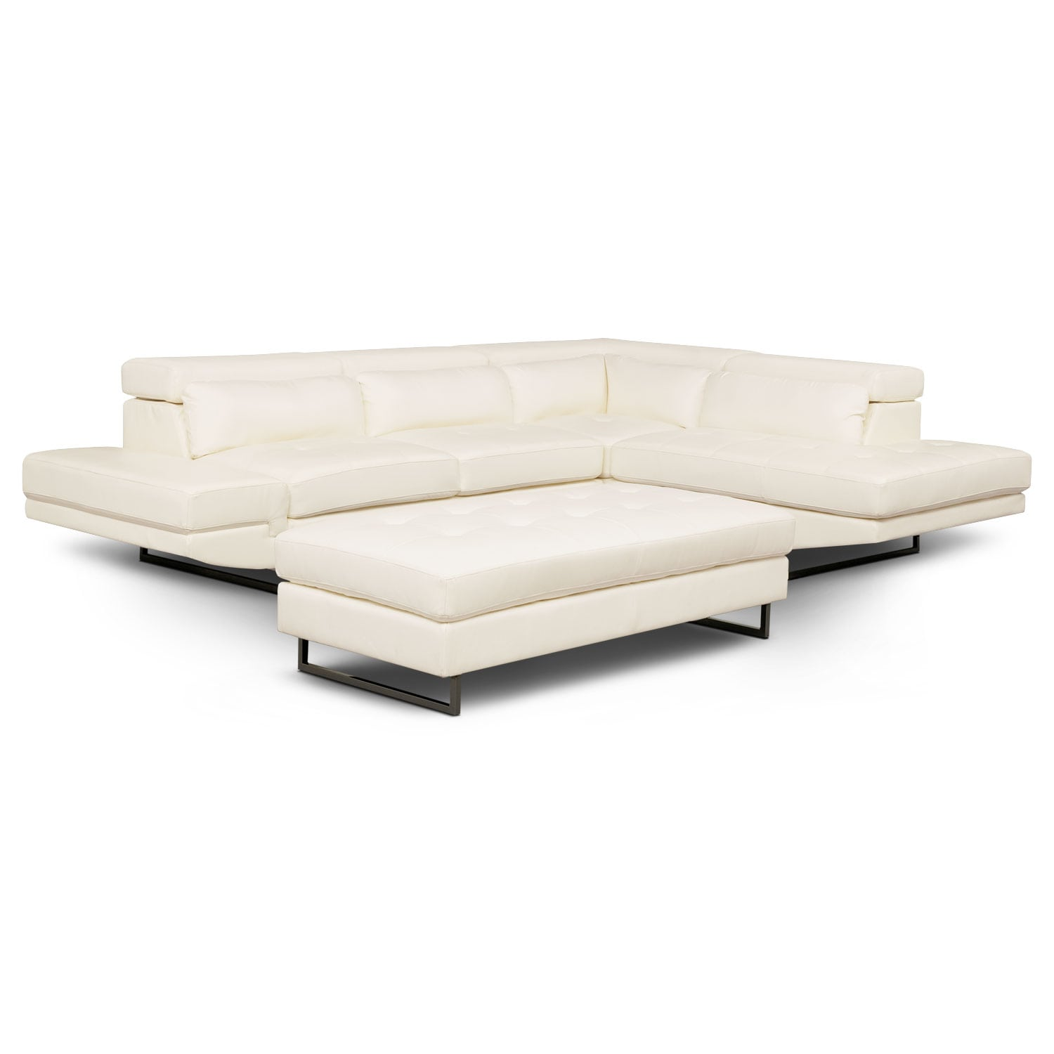 Living Room Furniture - Torino 2-Piece Sectional with Chaise and Ottoman