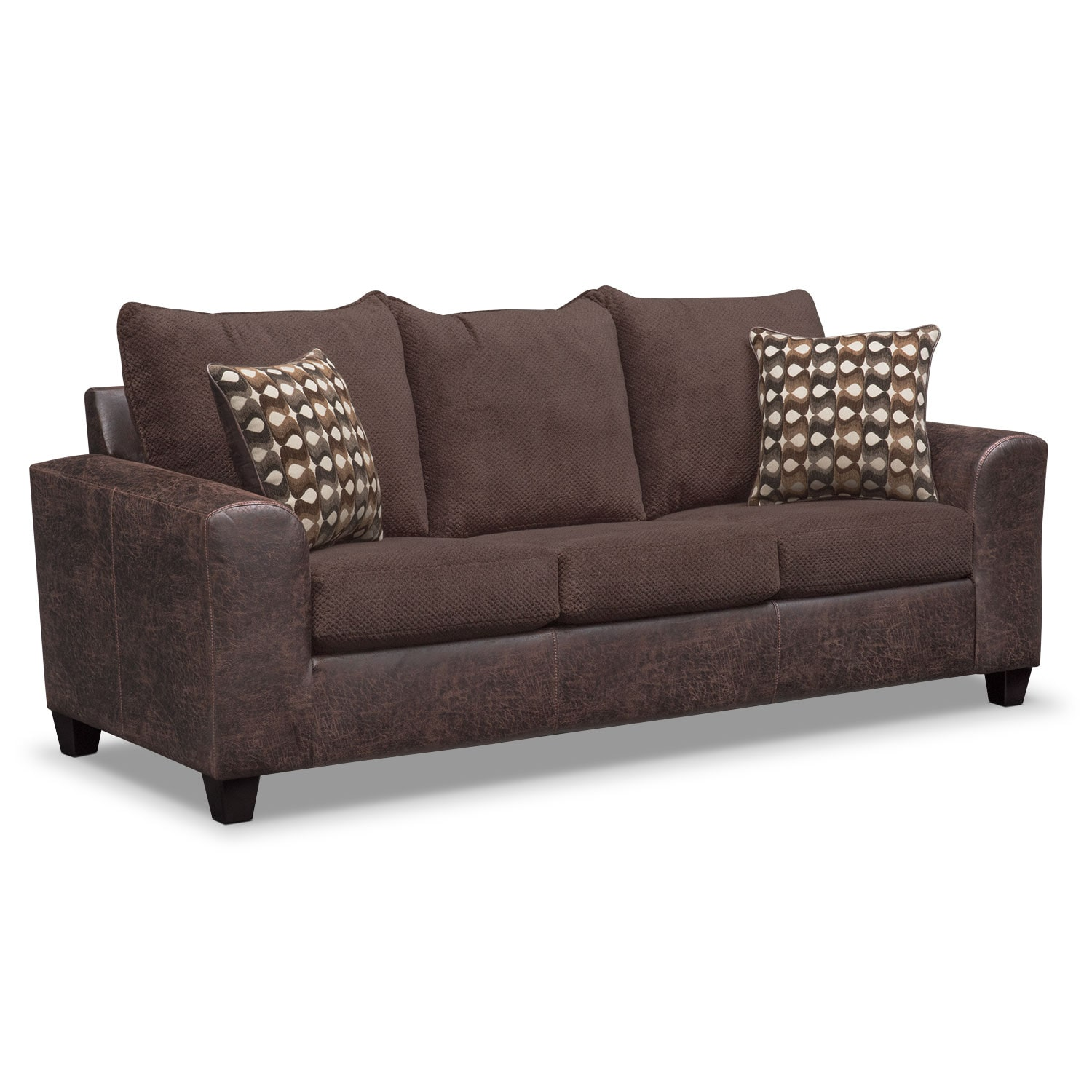 Brando sofa chocolate american signature furniture for Signature furniture