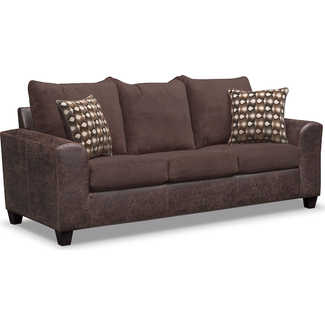 Living Room Furniture - Brando Queen Innserspring Sleeper Sofa - Chocolate