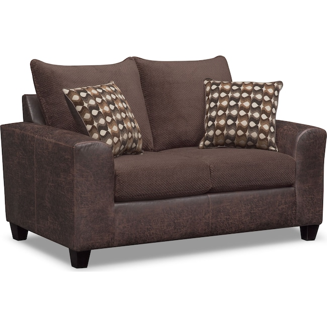 Living Room Furniture - Brando Loveseat - Chocolate