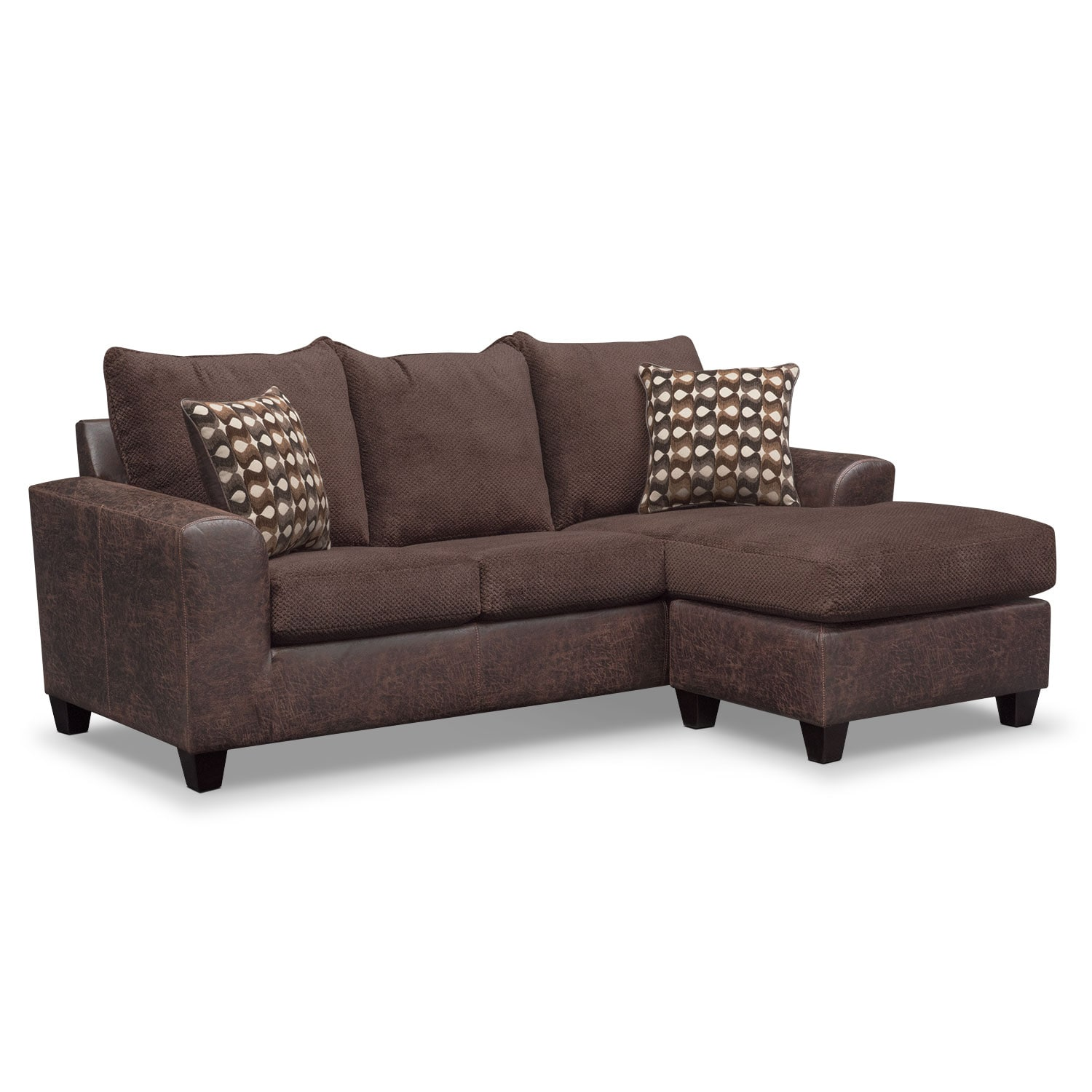 brando sofa with chaise chocolate american signature