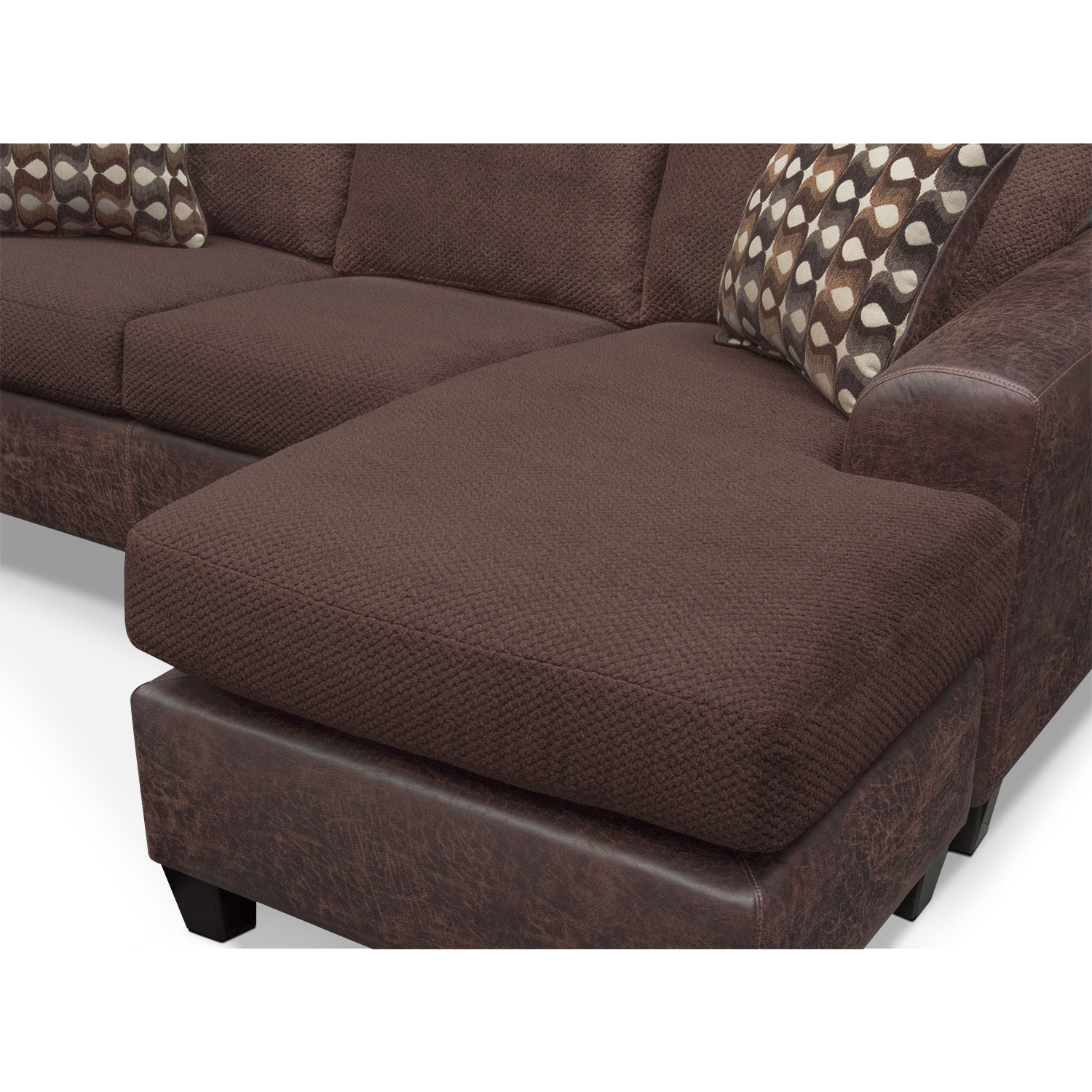 Brando sofa with chaise chocolate american signature for American signature couch