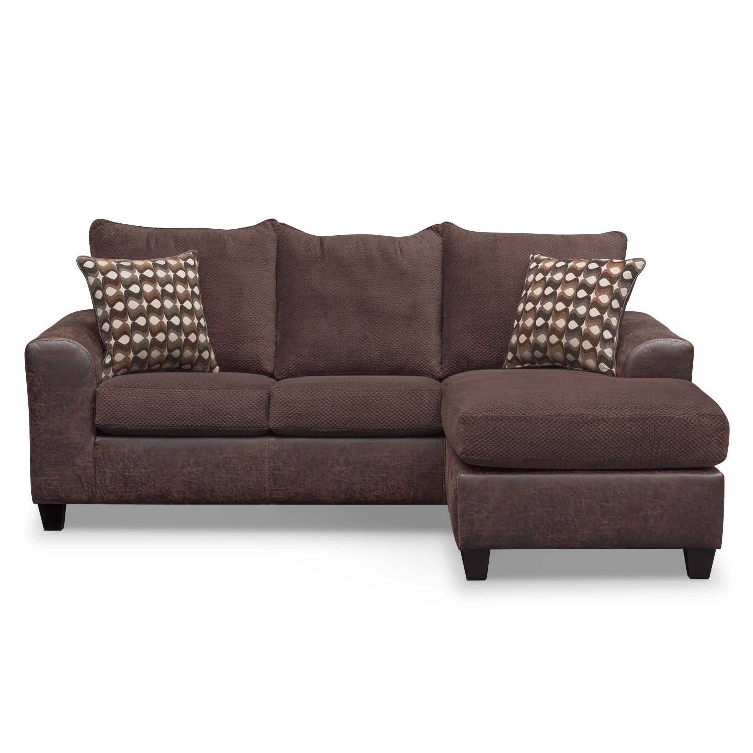 Brando sofa with chaise chocolate american signature for American signature furniture commercial chaise