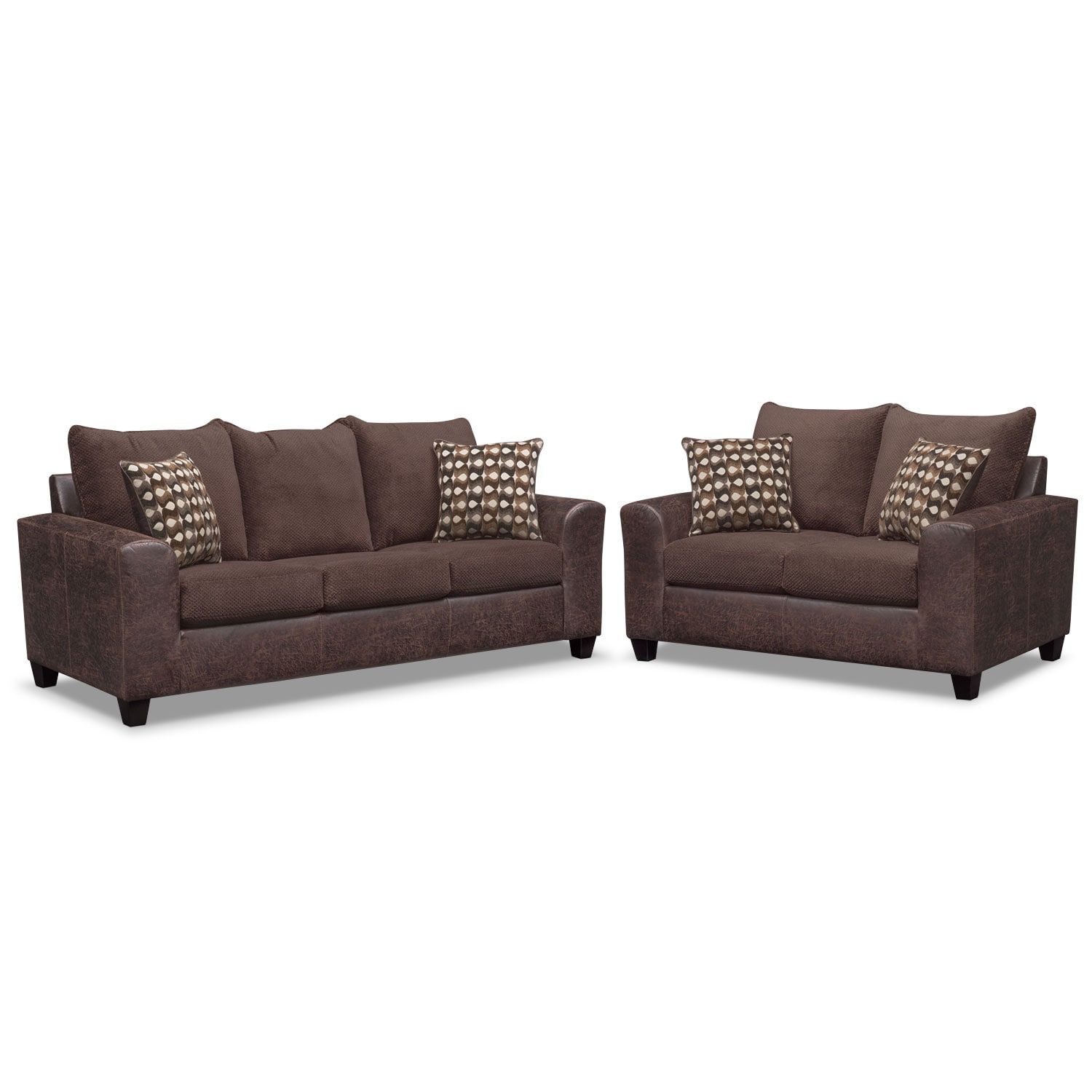 Living Room Furniture - Brando Queen Innerspring Sleeper Sofa and Loveseat Set - Chocolate