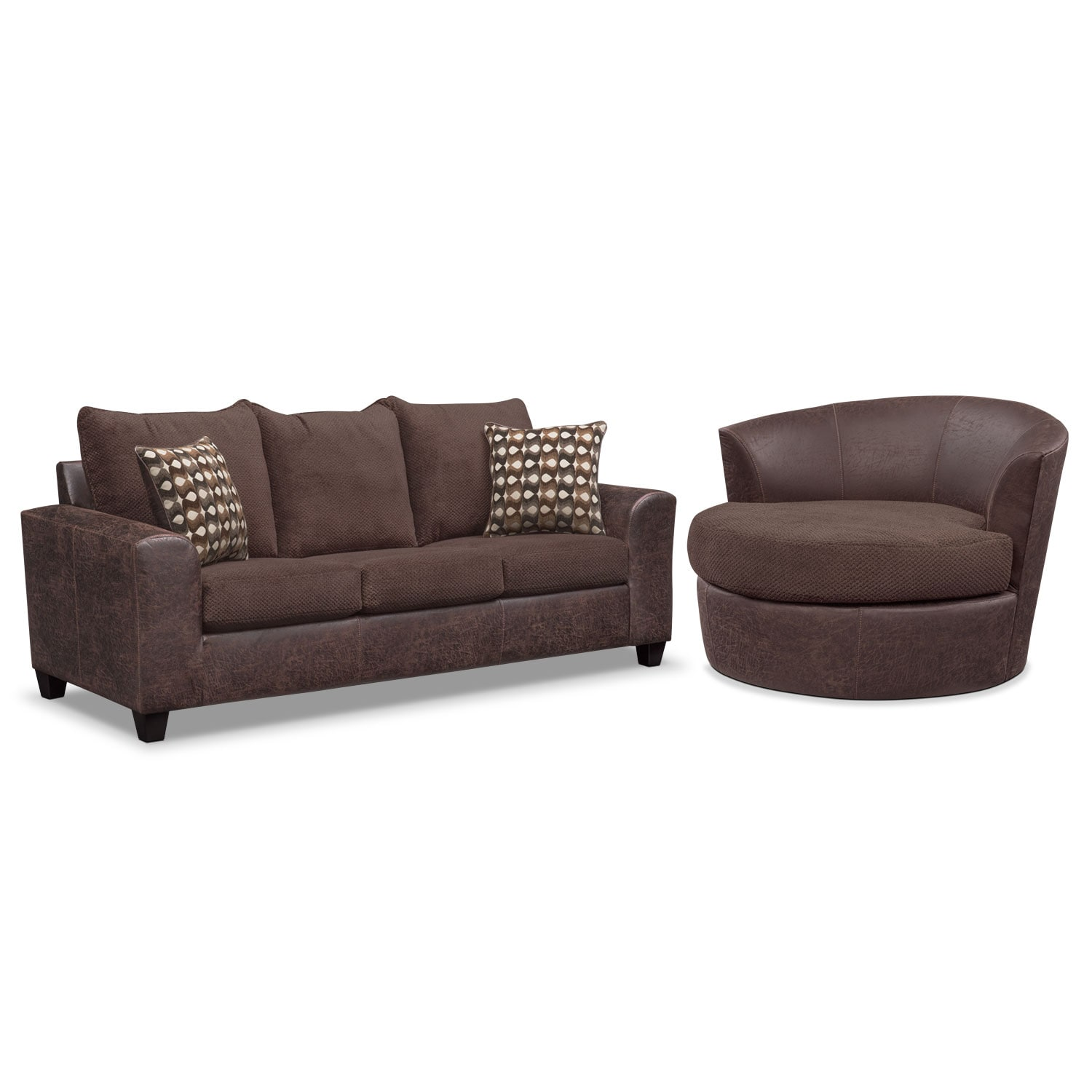Living Room Furniture - Brando Sofa and Swivel Chair Set - Chocolate