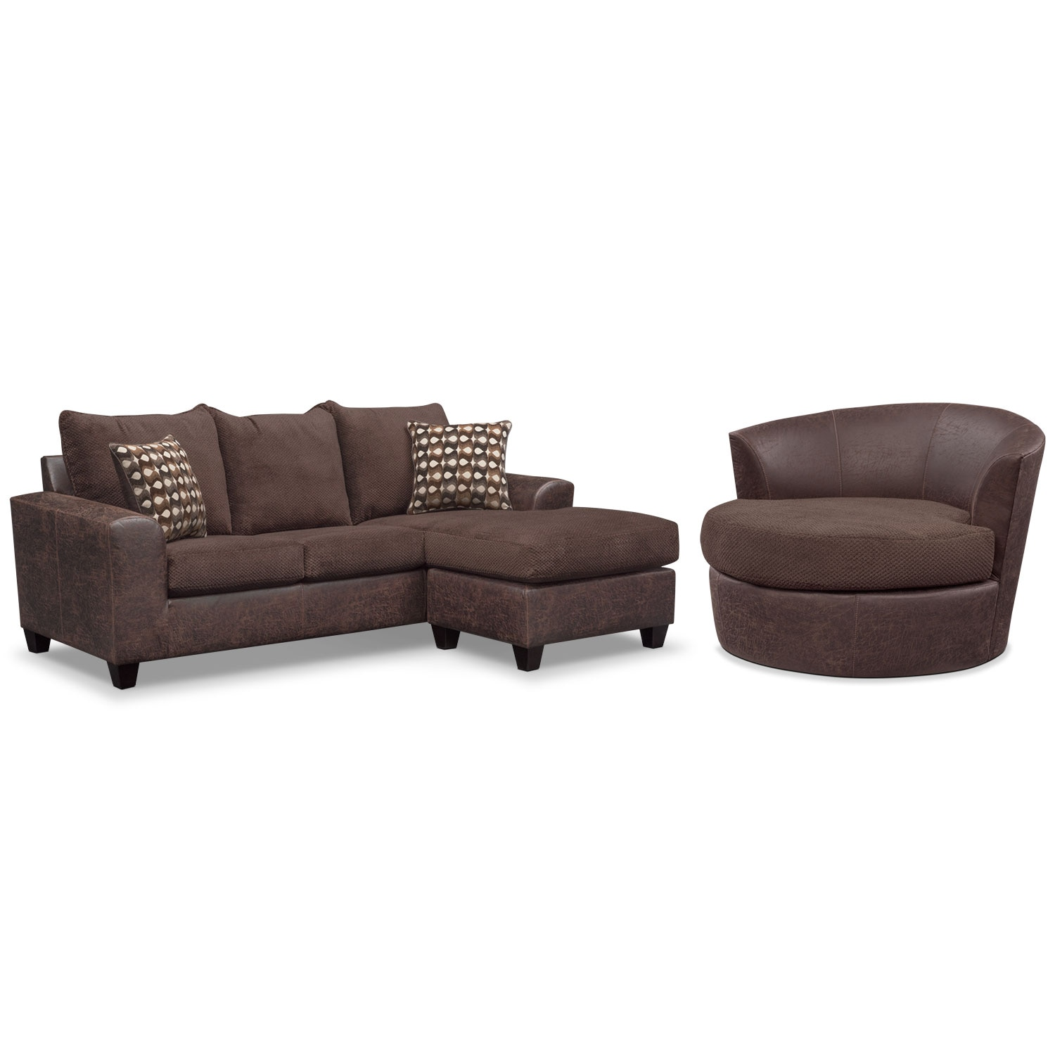 Brando sofa with chaise and swivel chair set chocolate for Chaise lounge couch set