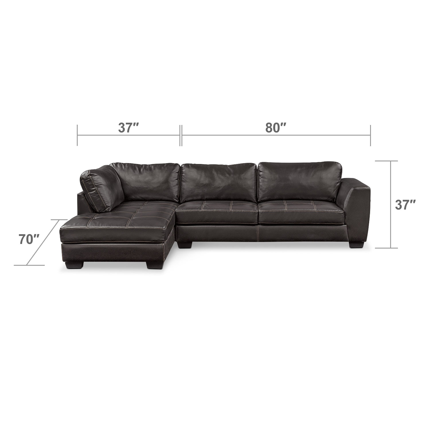 Santana 2 piece sectional with left facing chaise and for Black sectional with chaise