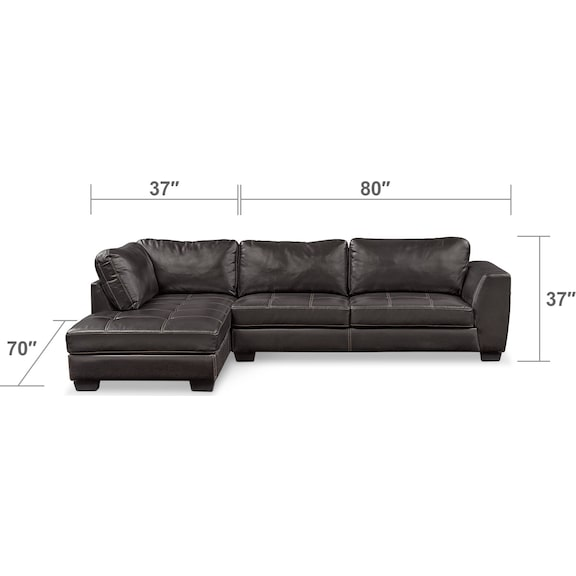 Living Room Furniture - Santana 2-Piece Sectional with Left-Facing Chaise - Black