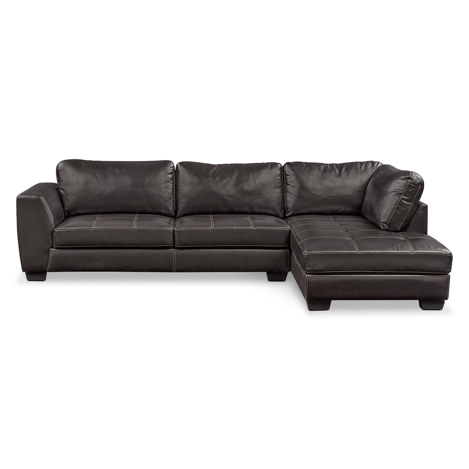 Santana 2 Piece Sectional With Right Facing Chaise Black