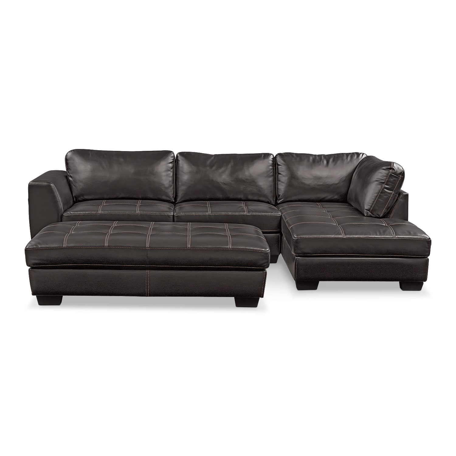 Living Room Furniture - Santana 2-Piece Sectional with Right-Facing Chaise and Cocktail Ottoman Set - Black