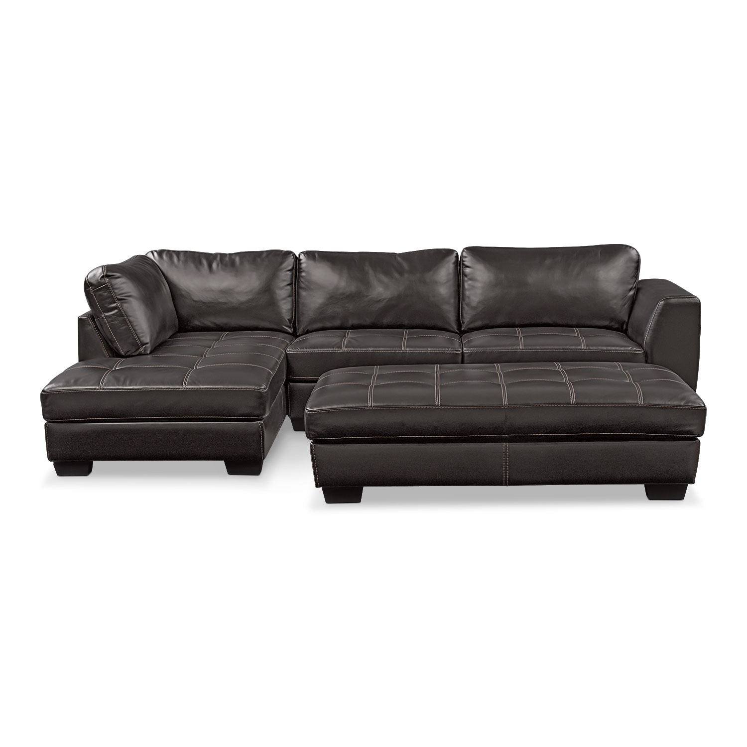 Living Room Furniture - Santana 2-Piece Sectional with Left-Facing Chaise Plus FREE Cocktail Ottoman - Black