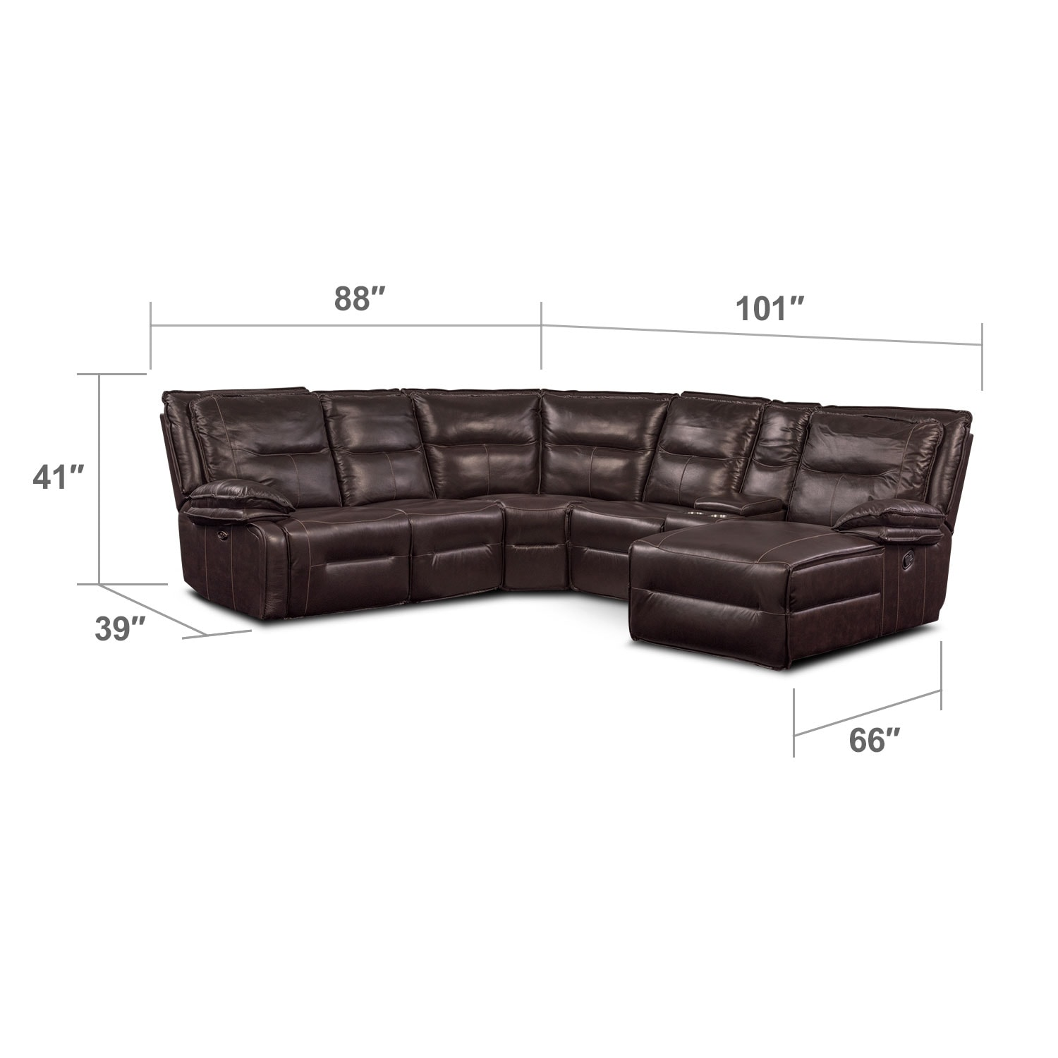 Living Room Furniture - Nikki 6-Piece Power Reclining Sectional with 2 Recliners and Right-Facing Chaise - Brown