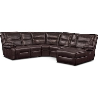 Nikki 6-Piece Power Reclining Sectional with 2 Recliners and Right-Facing Chaise - Brown