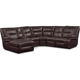 Nikki 6-Piece Power Reclining Sectional with 2 Recliners and Left-Facing Chaise - Brown