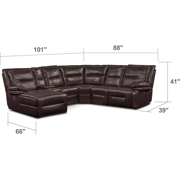 Living Room Furniture - Nikki 6-Piece Power Reclining Sectional with 1 Recliner and Left-Facing Chaise - Brown