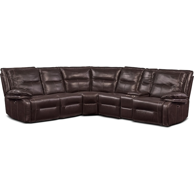 Living Room Furniture - Nikki 6-Piece Power Reclining Sectional with 3 Recliners - Brown