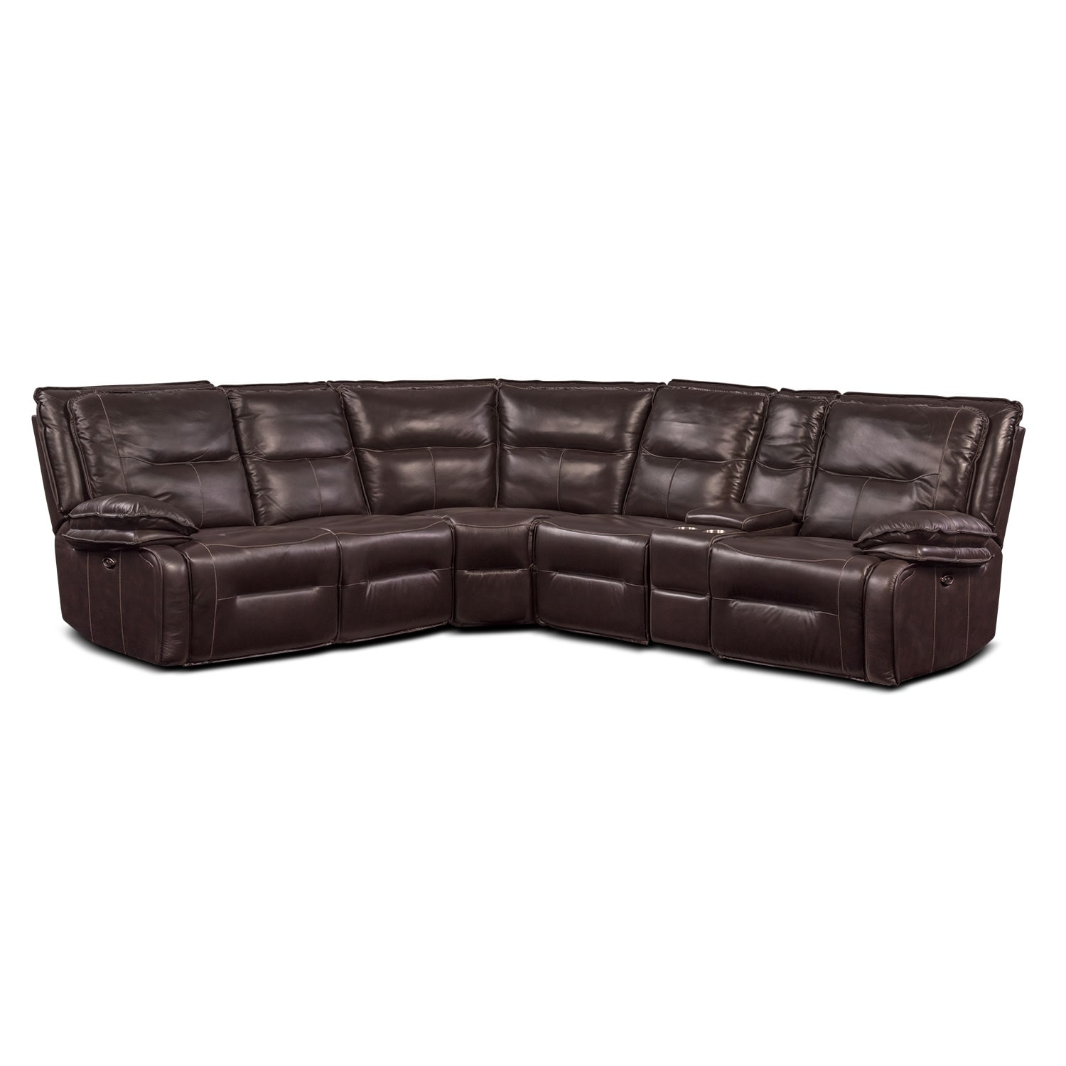 Living Room Furniture - Nikki 6-Piece Power Reclining Sectional with 2 Recliners - Brown