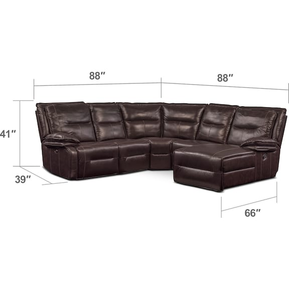 Living Room Furniture - Nikki 5-Piece Power Reclining Sectional with 2 Recliners and Right-Facing Chaise - Brown
