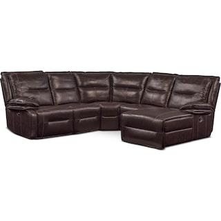 Nikki 5-Piece Power Reclining Sectional with 2 Recliners and Right-Facing Chaise - Brown