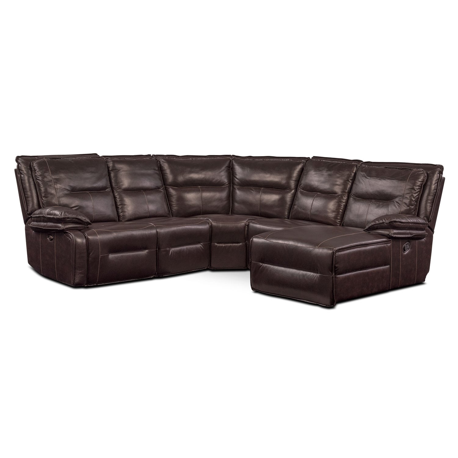 Living Room Furniture - Nikki 5-Piece Power Reclining Sectional with 1 Recliner and Right-Facing Chaise - Brown