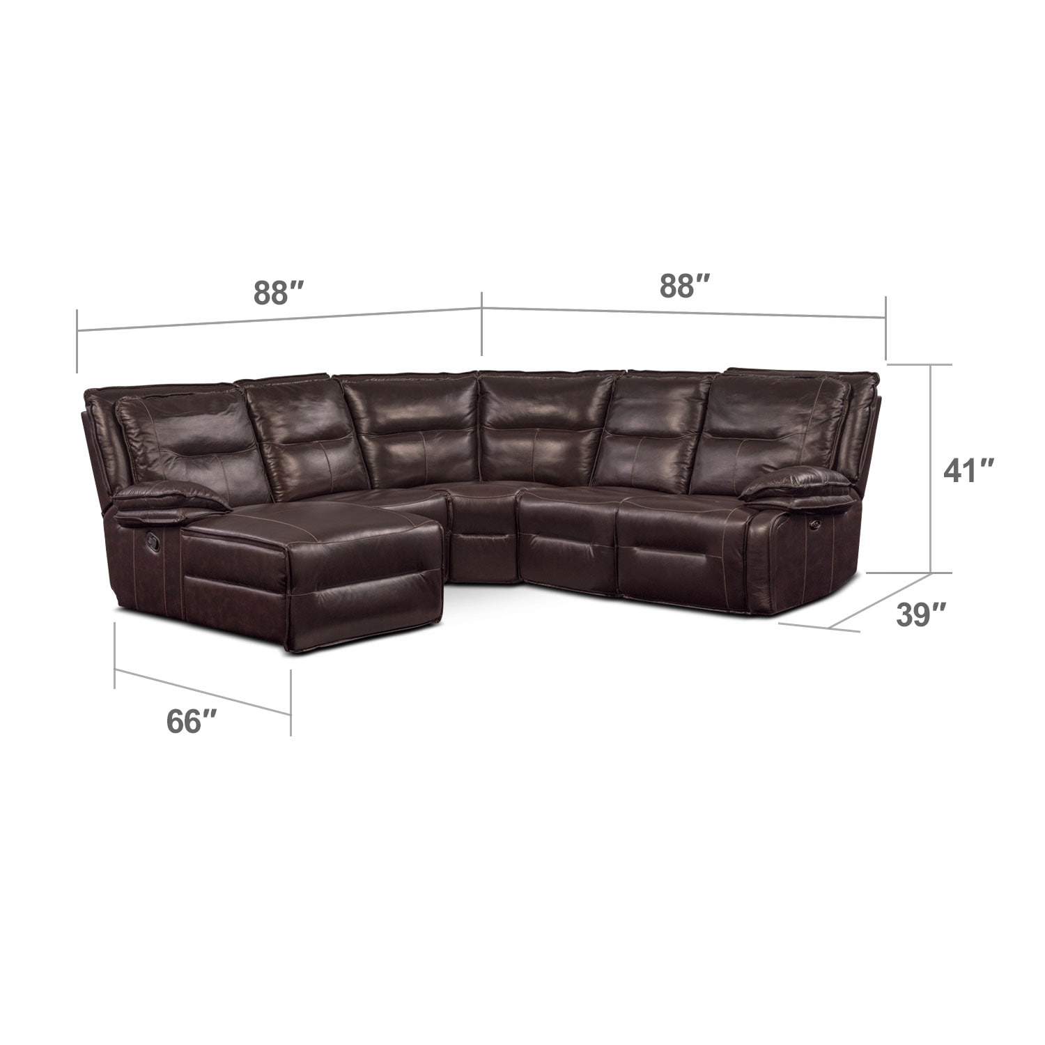 Living Room Furniture - Nikki 5-Piece Power Reclining Sectional with 2 Recliners and Left-Facing Chaise - Brown