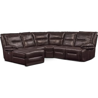 Nikki 5-Piece Power Reclining Sectional with 2 Recliners and Left-Facing Chaise - Brown