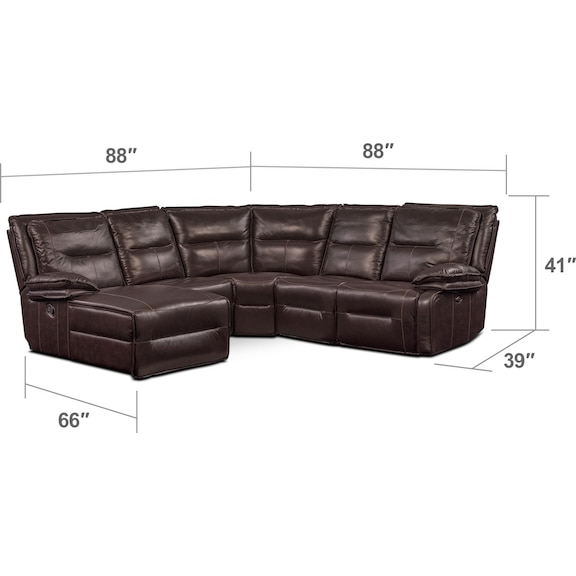 Living Room Furniture - Nikki 5-Piece Power Reclining Sectional with 1 Recliner and Left-Facing Chaise - Brown