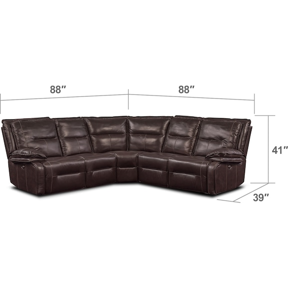 Living Room Furniture - Nikki 5-Piece Power Reclining Sectional with 3 Recliners - Brown