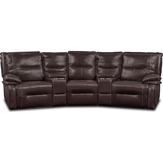 Nikki 5-Piece Power Reclining Home Theater Sectional - Brown