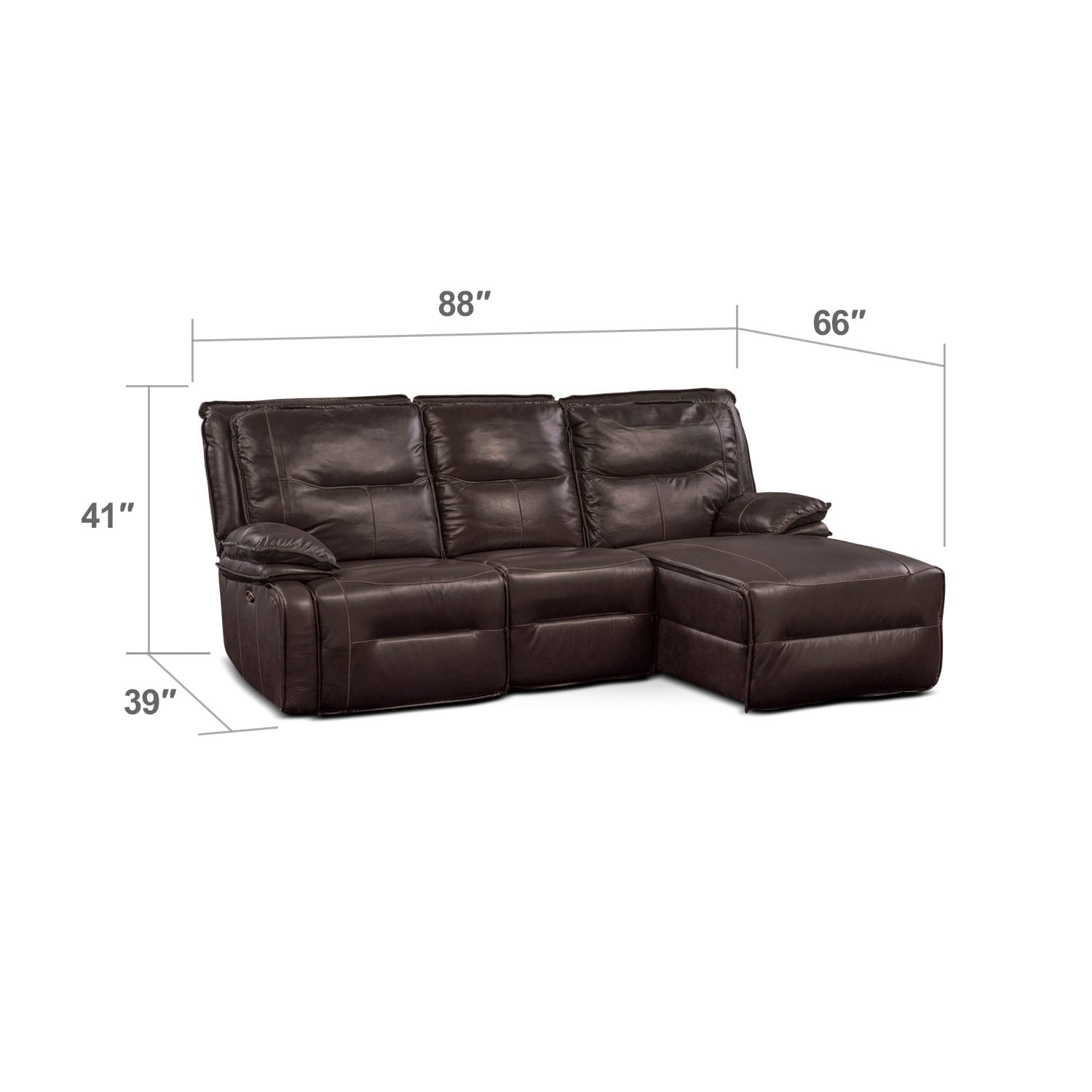 Living Room Furniture - Nikki 3-Piece Power Reclining Sectional with Right-Facing Chaise - Brown