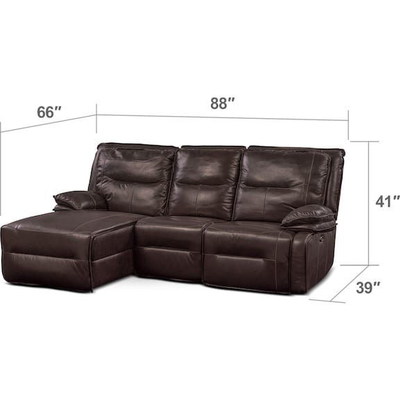 Living Room Furniture - Nikki 3-Piece Power Reclining Sectional with Left-Facing Chaise - Brown