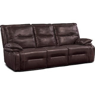 Nikki 3-Piece Power Reclining Sectional with 3 Recliners - Brown