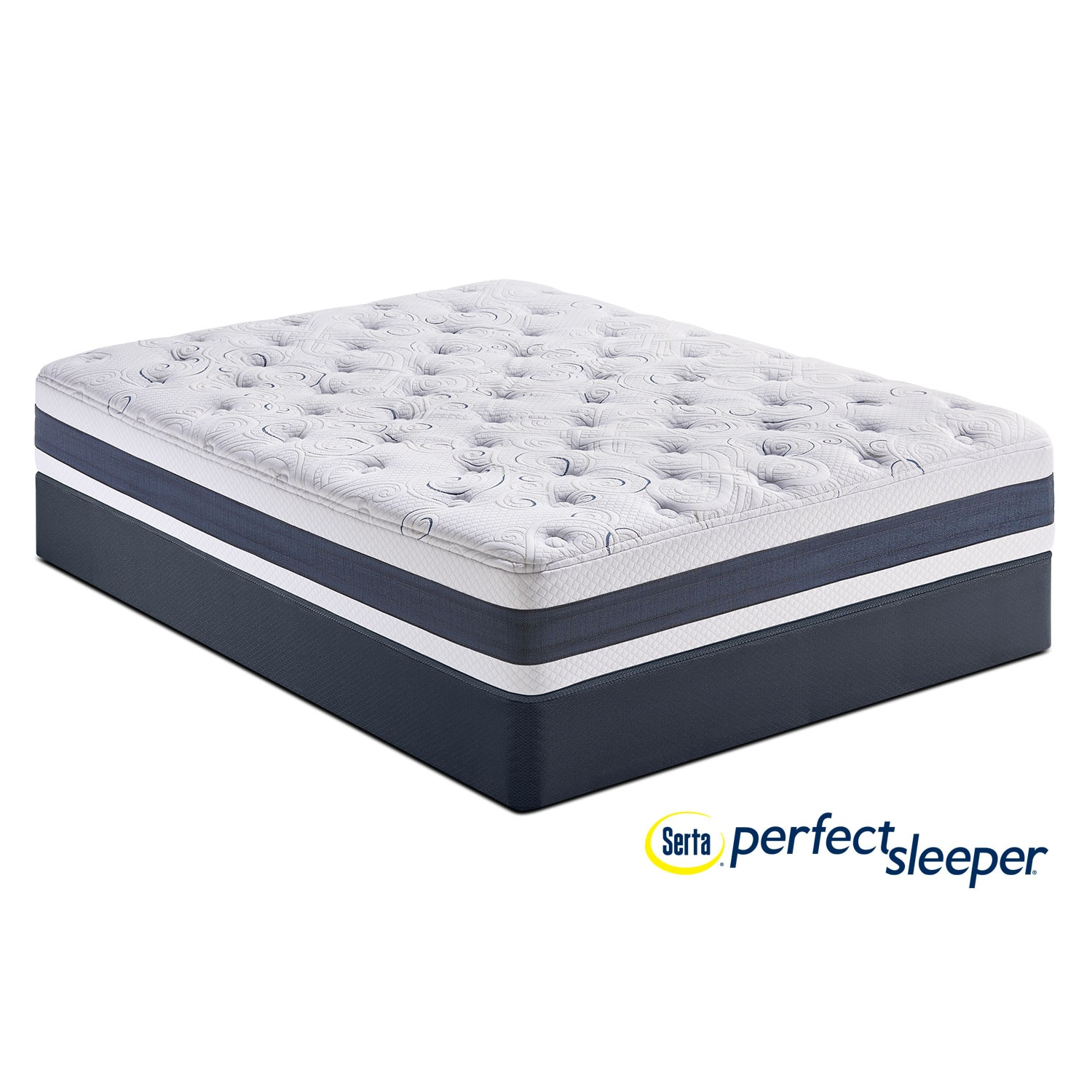 Shadow Falls Plush Queen Mattress and Low-Profile Foundation Set