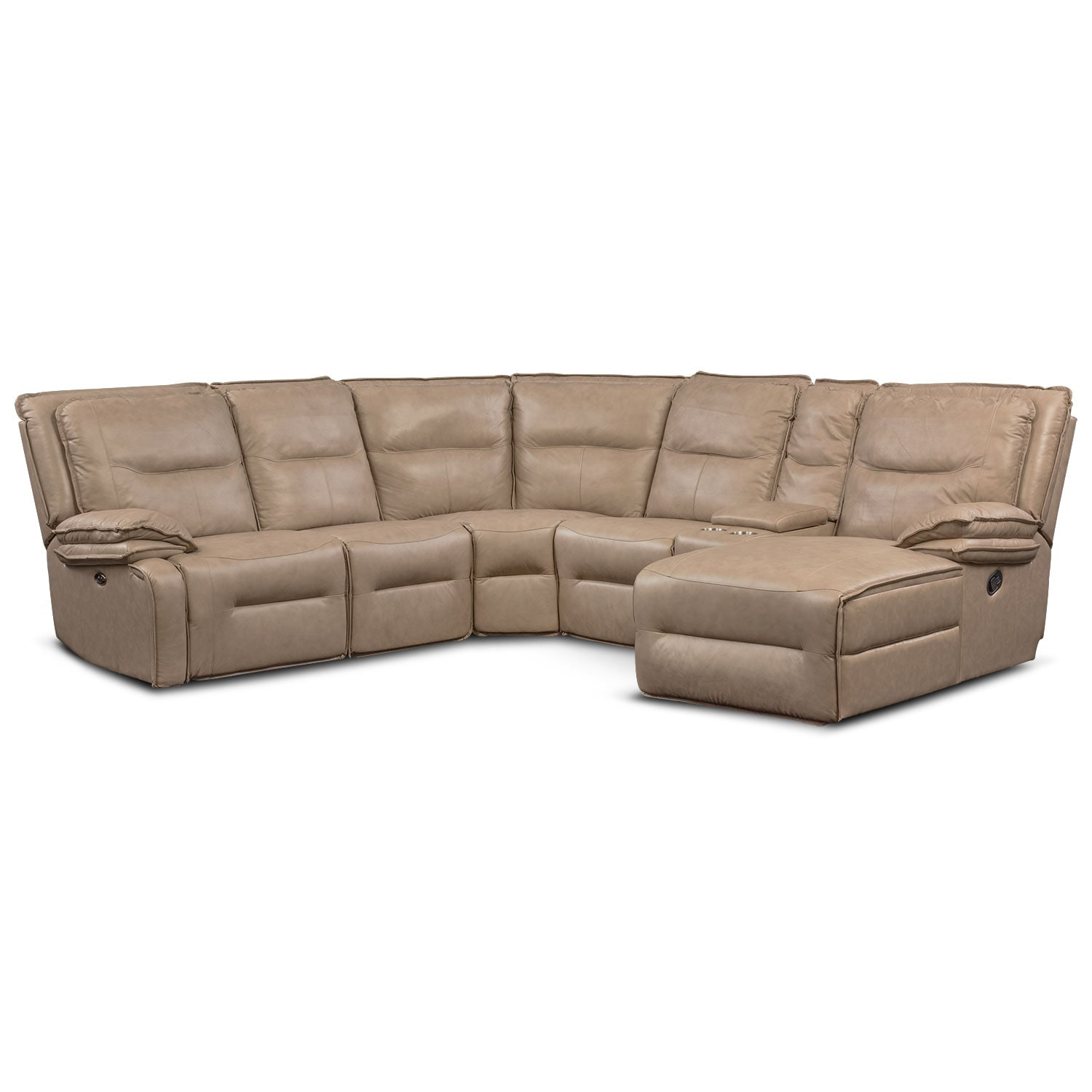 Nikki 6-Piece Power Reclining Sectional with 2 Recliners and Right-Facing Chaise - Taupe